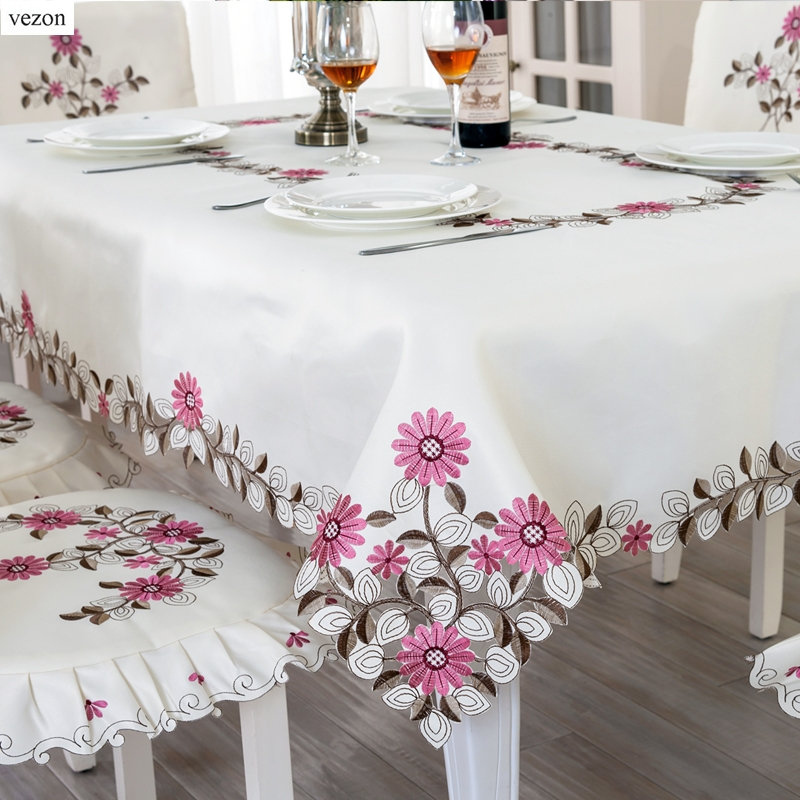 Vezon Elegant Polyester Satin Embroidery Rose Daisy Tablecloth Embroidered Floral Table Cloth Cover Overlays Home Decor Textile