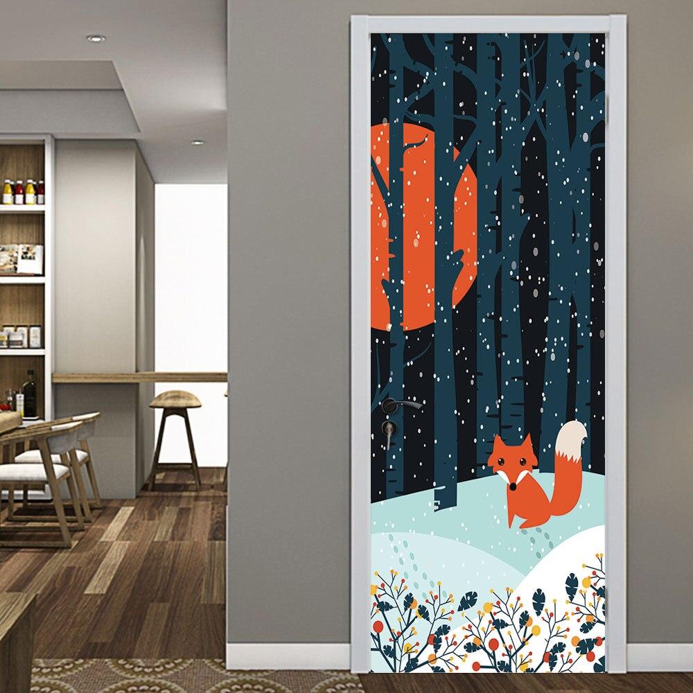 Anime Fox Forest Snow Night Door Stickers Self Adhesive PVC Bedroom Wallpapers 3D Creative Home Decor Door Mural DIY Renew Decal