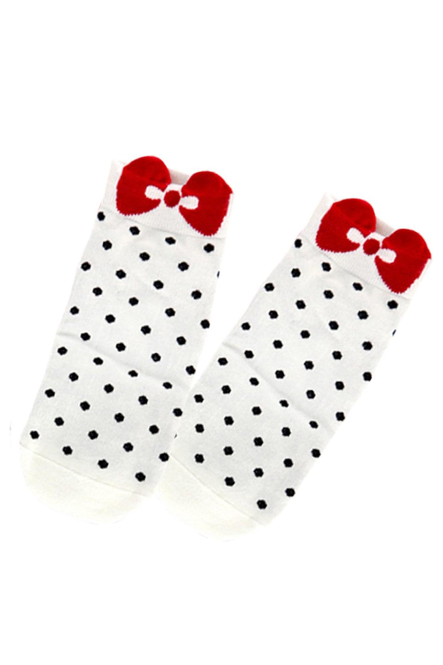 Hot mujeres punto patrón tobillo corto Calcetines blanco - a158