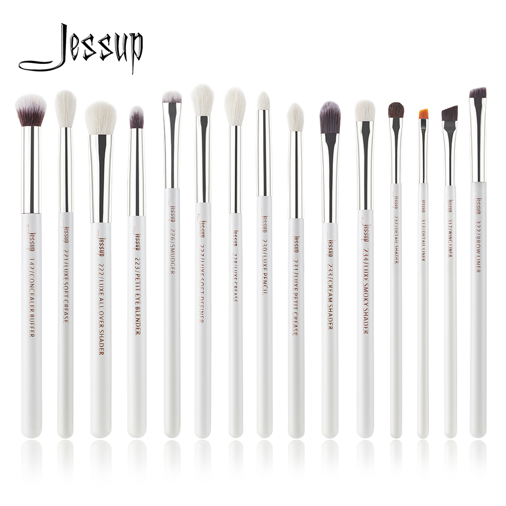 Jessup Brand Pearl White/Silver Professional Makeup Brushes Set Make up Brush Tools kit Eye Liner Shader natural-synthetic hair at fashion 12 pcs makeup brushes set studio holder portable make up cup natural hair synthetic duo fiber makeup brush tools kit