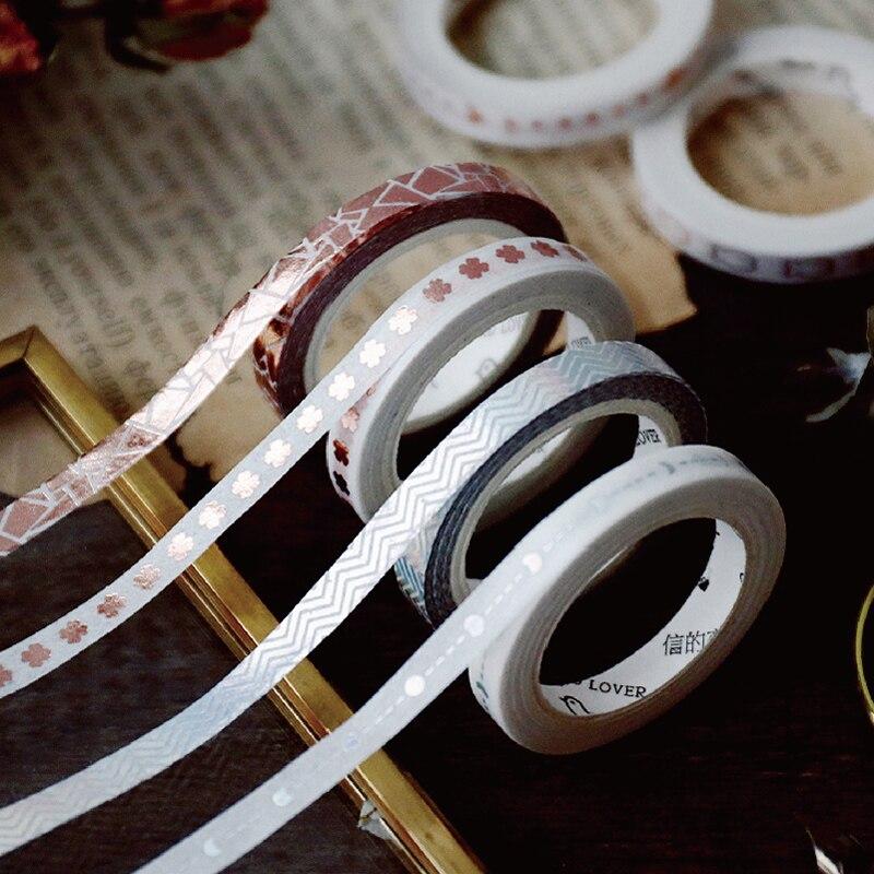 1 Roll/set Rose-gold Stamping Slim Washi Tape 5mmx5m Laser Silver Masking Tape For DIY Planner Scrapbook Diary Decorative Tape