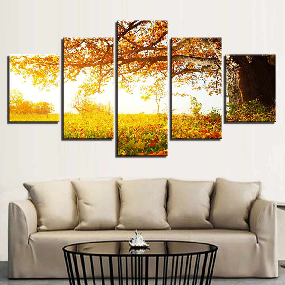 Canvas Painting Wall Art Abstract Decorative 5 Panel Tree Landscape ...