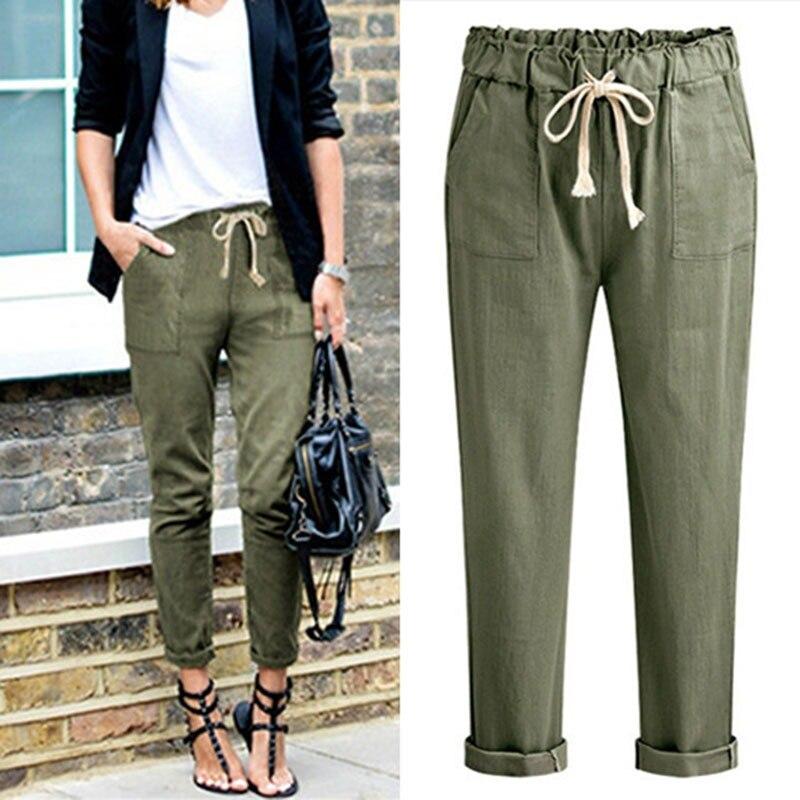 Fashion Women Pants Elastic Waist Pockets Loose Pants Female 2018 Casual Trousers Lady Leisure Long Pants
