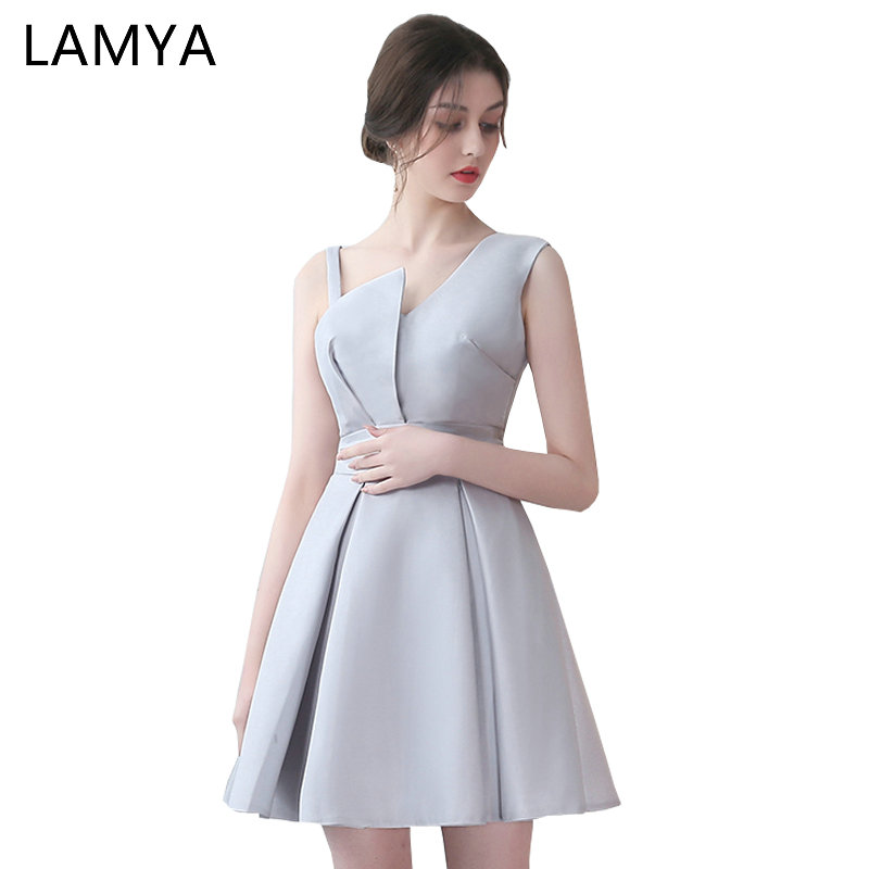 Lamya Special Occasion Gowns 5 Colors Short Satin A Line   Prom     Dresses   2018 Cheap Elegant Evening Party   Dress