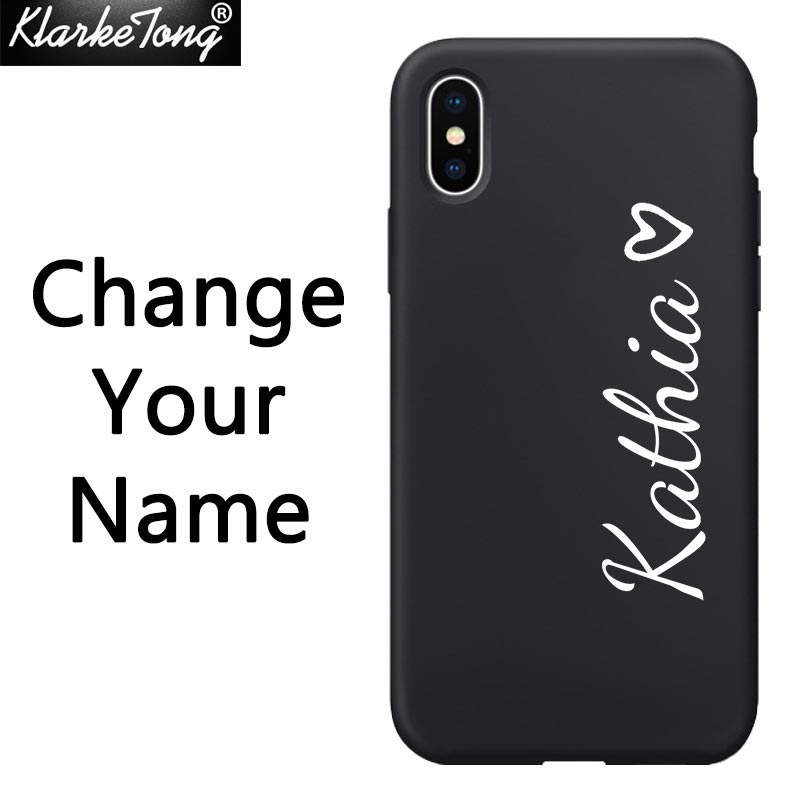 Personalized Custom Name Text Soft Silicone Phone Case For iPhone XS MAX XR 6 6S 7 8 Plus 5 Matte Black TPU Cover