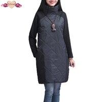 Plus Size Women Autumn Winter Dress Long Sleeve Turtleneck Casual Loose Patchwork Robe Cotton Soft Black