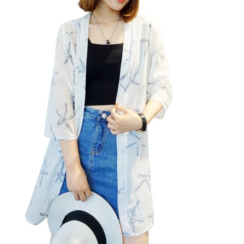 HTB14Rh KeGSBuNjSspbq6AiipXal - Blusas Mujer De Moda  New Women Summer Chiffon Blouse Pinted Casual Kimono Cardigan Long Blouses Sunscreen Tops Plus Size