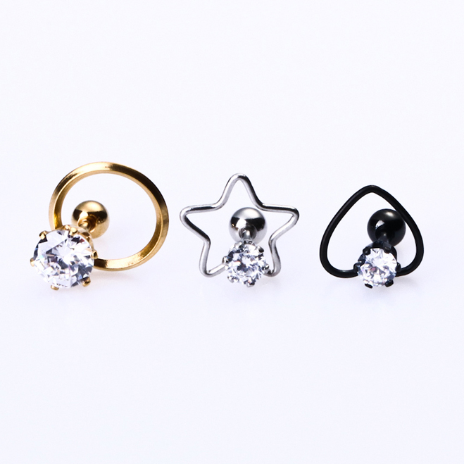 Stud Earrings in Europe Fashion Titanium 316l Stainless steel vacuum plating heart shaped Five Round Crystal