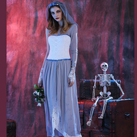 Woman Halloween Corpse Ghost Bride Costume Scary Fancy Skeleton Joker Outfit Long Lace Dress For Girls