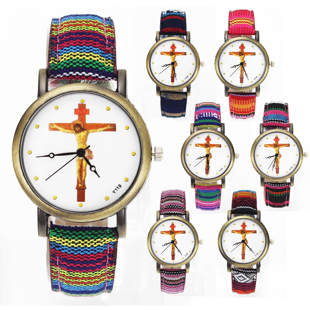 christ оранжевый tula крист Jesus Christ Crucifixion Cross Christian Christianity Religious Casual Watches Multicolor Canvas Cloth Band Quartz Wrist Watch