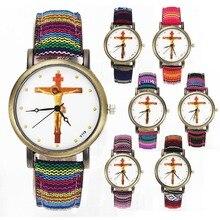Crucifixión de Jesucristo Cruz Cristiana Cristianismo Religioso Casual Relojes Multicolor Lienzo de Tela Banda de Cuarzo Reloj de Pulsera