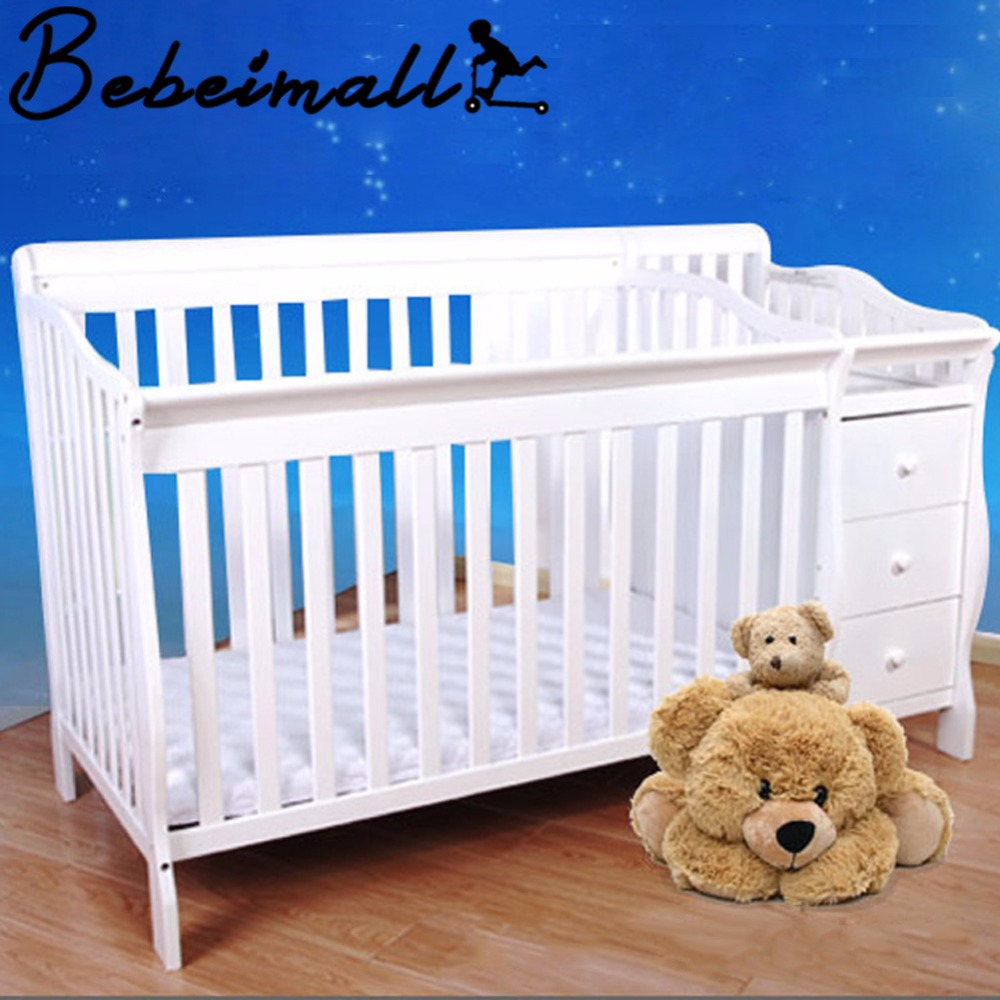Luxury Solid Wood Baby Crib Multi functional White Cradle