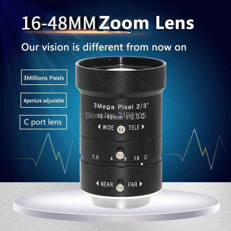 16-48MM industrial lens 2/3 mechanical vision zoom lens 3 million pixels distortion-free large field aperture adjustable