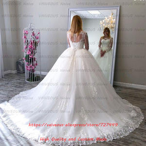 Vestido De Novia 2019 Vintage Long Sleeves Ball Gown Wedding Dresses Lace Up Robe de Mariee Plus Size Lace Wedding Bridal Gown