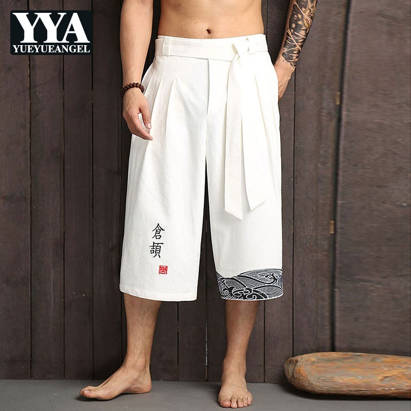 Fashion Sexy Men's Wide Leg Shorts Male Linen Mid-Calf Shorts Loose Fit Summer Casual Chinese Style Quality Cotton Linen Shorts