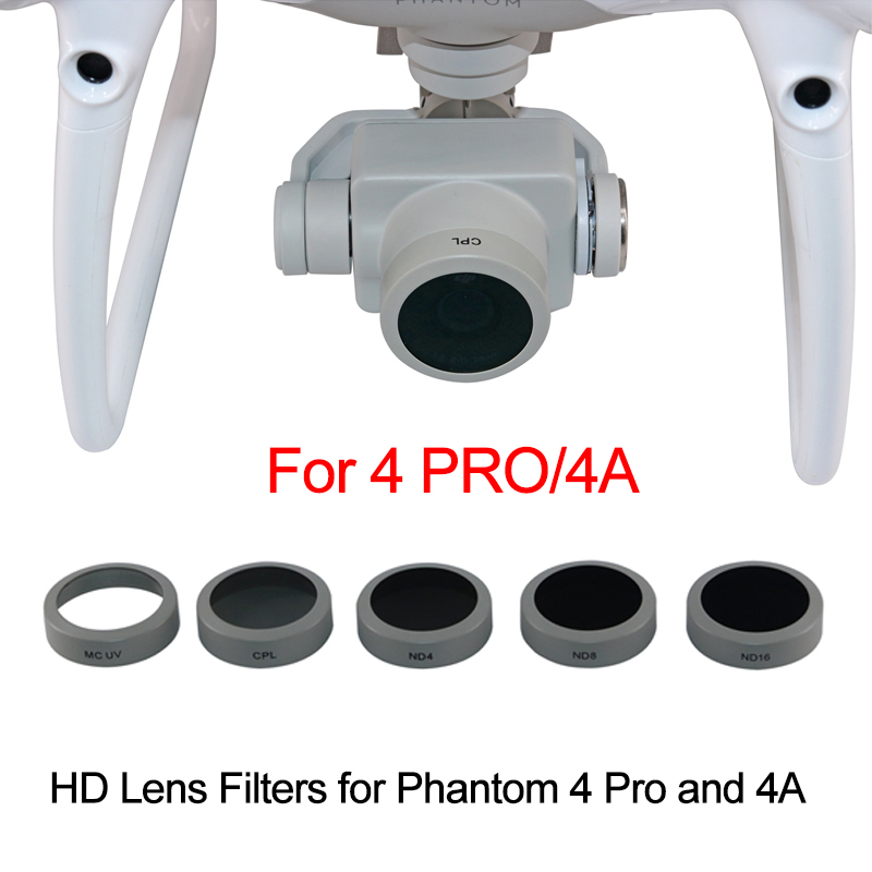 Lens Filter for DJI Phantom 4 Pro 4A Drone Camera UV CPL ND4 ND8 ND16 Filter Neutral Density Circular Polarizer for P4P P4A 6 in 1 filter accessories uv circular polarizer neutral density filters mcuv cpl nd4 nd8 nd16 nd32 filter set for dji mavic pro