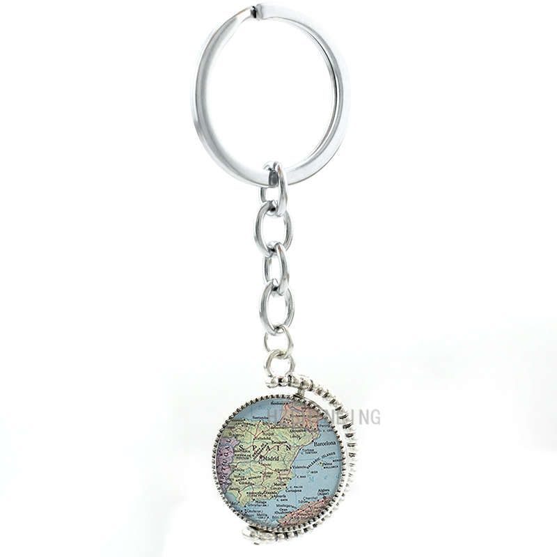 Double sides rotatable Madrid Spain Map pendant key chain ring holder hometown map charm men women keychain keepsake gifts MP38