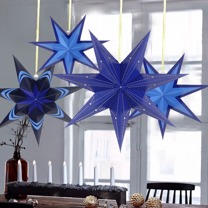 Merry Christmas 40cm 45cm 60cm Decorative Star Christmas Tree Decoration Christmas Home Hanging Elements Paper Star in Pendant Drop Ornaments from Home Garden