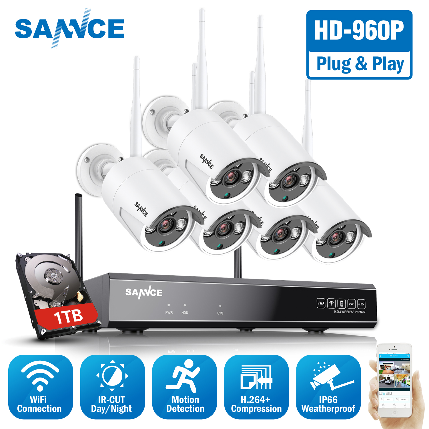 SANNCE 960P 8CH Wireless Security Camera System 6PCS IP66 Weatherproof Indoor Outdoor Wifi Cameras Plug-and-Play Wi-fi CCTV Kit