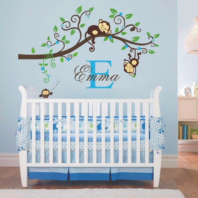 And Boy Jungle Monkey Wall Decal Vinyl Nursery Decor With Name Initial
