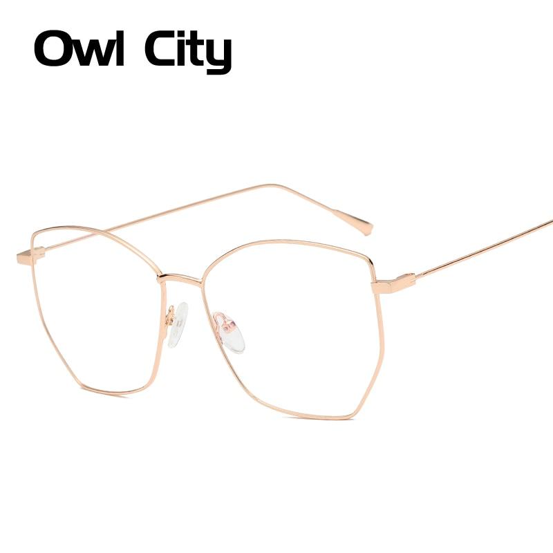 2019 New Square Glasses Women Prescription Eyewear Frames Pilot Men Metal Oversize Optical Glasses Frame Diopter Clear Lenses
