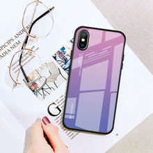 For Apple Iphone X XS MAX XR Case Gradient Soft TPU Frame+Tempered Glass Colorful 8 7 6 Plus 6S Protective Cover