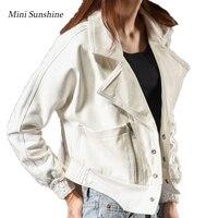 2019 Jacket jeans Women Autumn Coat Solid White Cotton Denim Jacket Light Washed woman Collar Long Sleeve jeans Coats z30
