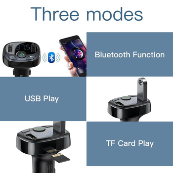 Baseus Car Charger for iPhone Mobile Phone Handsfree FM Transmitter Bluetooth Car Kit LCD MP3 Player Dual USB Car Phone Charger 3