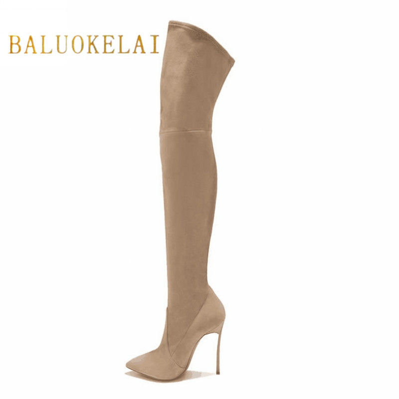 Over Knee Boots With Fur Women Black Thigh High Boots Shoes Woman Pointed toe Winter Stretch Flock Slim Fashion Boots FS-0146 women socks boots stretch slim winter over knee boots black thigh high boots elastic shoes woman round toe snow boots fs 0153