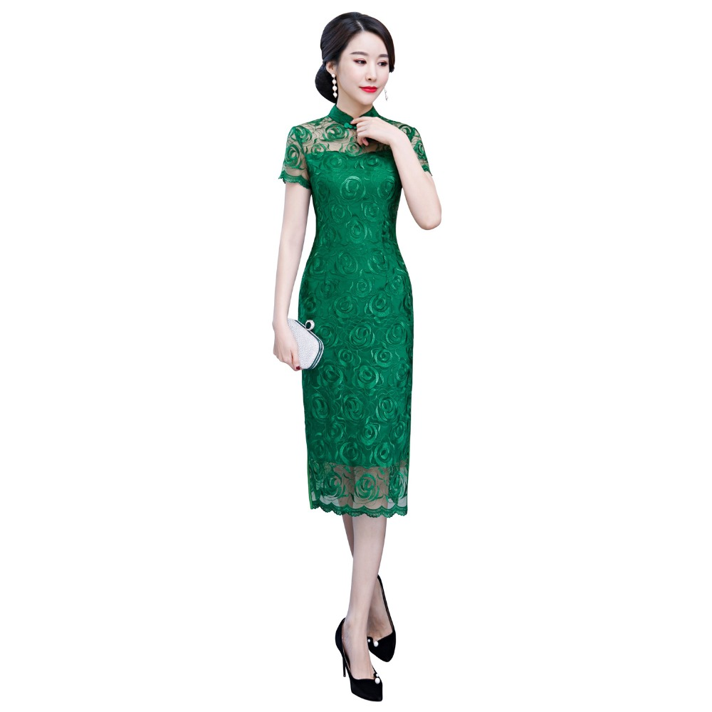 Shanghai Story Green Oriental Dress Chinese Traditional Dress Cheongsam Flower Embroidery Lace Qipao Chinese Women's Dress