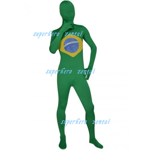 Free Shipping Brazil Flag Costume Lycra Spandex Fullbody Zentai Suit Halloween Brazil Flags Catsuit Adult/Kids/Custom Made