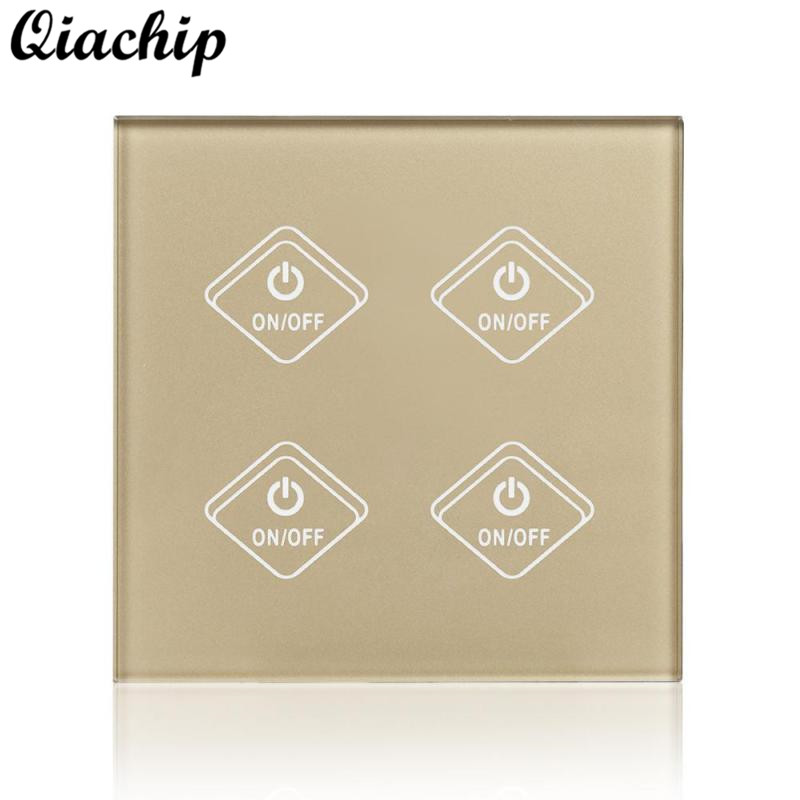 QIACHIP UK Plug 4 Gang 1 Way Light Wall Switch APP Remote Control Work With Amazon Alexa Home Voice Smart Switch Timing Contorl qiachip uk plug wifi smart switch 2 gang 1 way light wall switch app remote control work with amazon alexa google home timing
