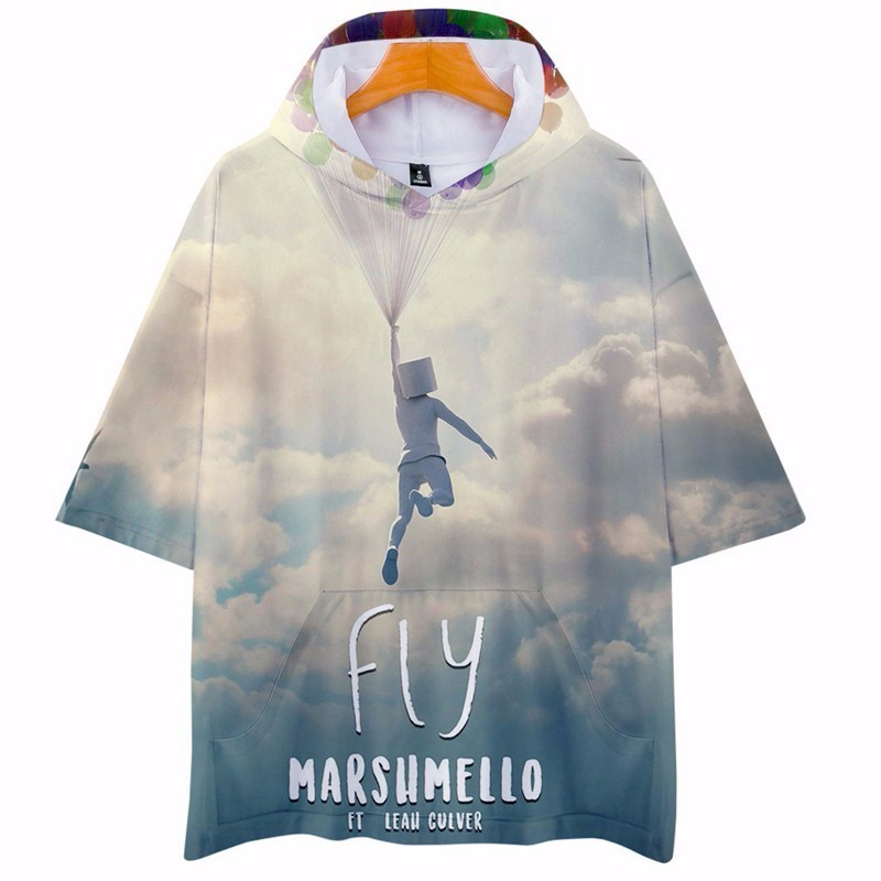 Hot Marshmello 3D Print Hip Hop Hooded Summer Men Women Short Sleeve Streetwear Harajuku Fashion Casual Sweatshirt