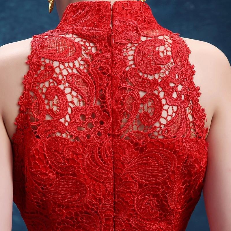 dentelle rouge traînant sans manches sirène moderne cheongsam robes - Vêtements nationaux - Photo 4