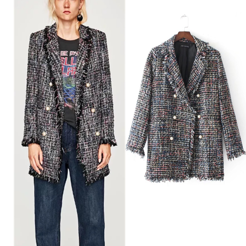 Women Chic Plaid Tweed Blazer Feminino Fringe Tassel Long Sleeve Coat Women Pearl Button Outerwear Tops