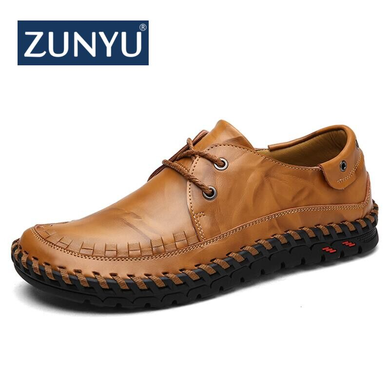 ZUNYU 2018 New Men's Genuine Leather Casual Shoes Spring Men Lace Up Flats Summer Comfortable Handmade Moccasins Brand Men Shoes top brand high quality genuine leather casual men shoes cow suede comfortable loafers soft breathable shoes men flats warm