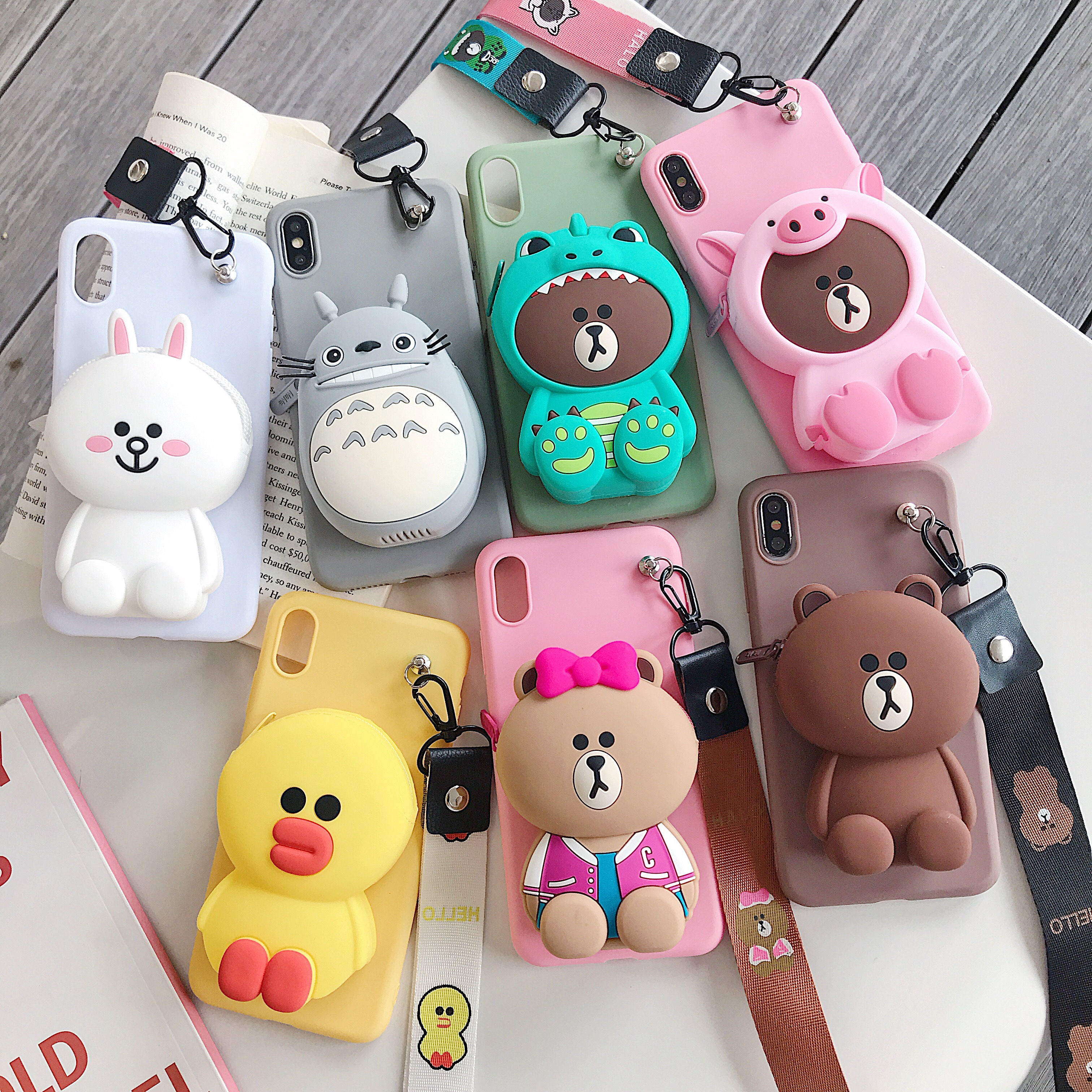 3D Cartoon Brown bear rabbit Wallet Phone Case For oneplus 7 pro oneplus 6t 5t 5 6 Cute Soft Anti-fall Lanyard Strap Cover case