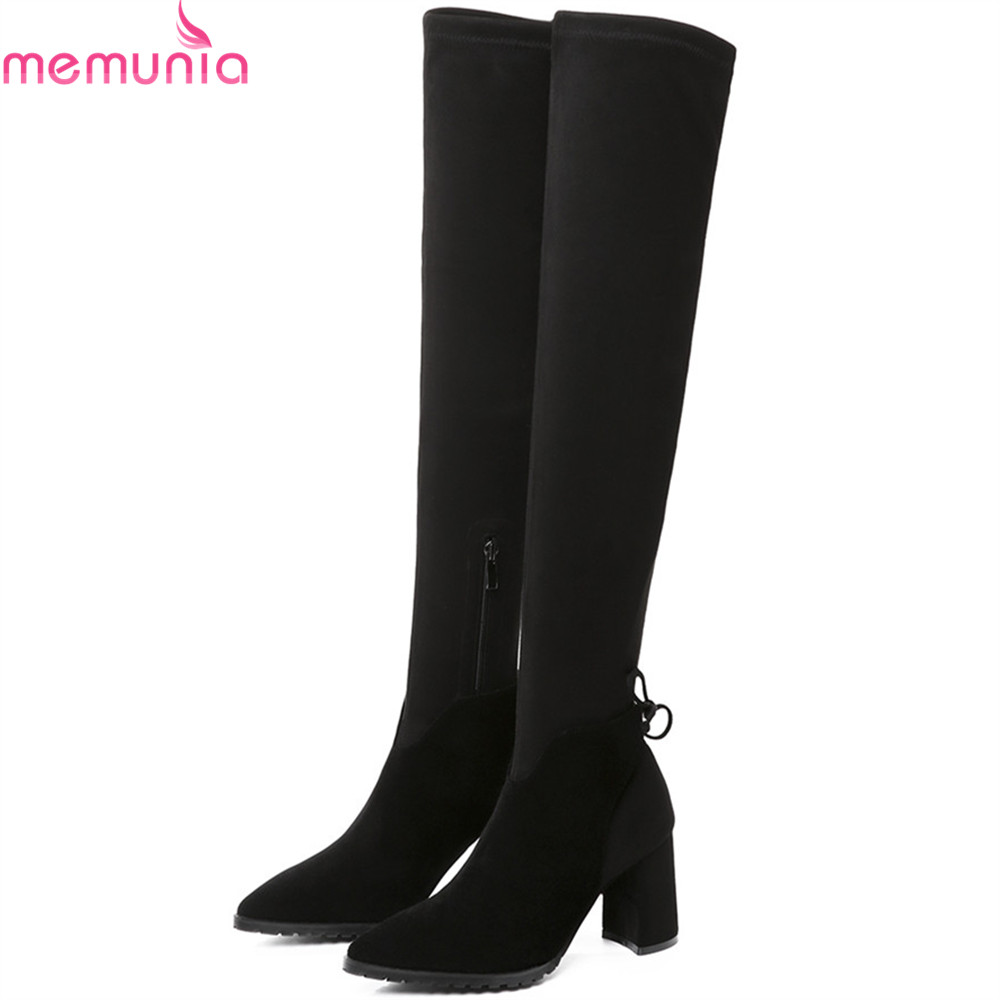 MEMUNIA black pointed toe fashion women boots zipper kid suede boots square heel leather cross tied sexy over the knee boots