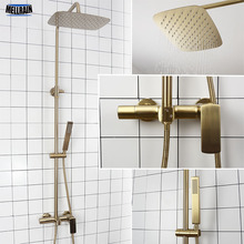 цена на Bathroom Rain Shower Set Brushed Gold And Black Solid Brass Bath Shower Faucet Quality Wall Mounted Water Mixer Bath System