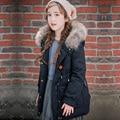 2016 Muchachas de la Marca Abrigos de Invierno Para Niños Abajo Muchachas de la Capa ropa de Abrigo y abrigos Grandes Cuello de Piel Niño Chaquetas Calientes de La Muchacha Parkas