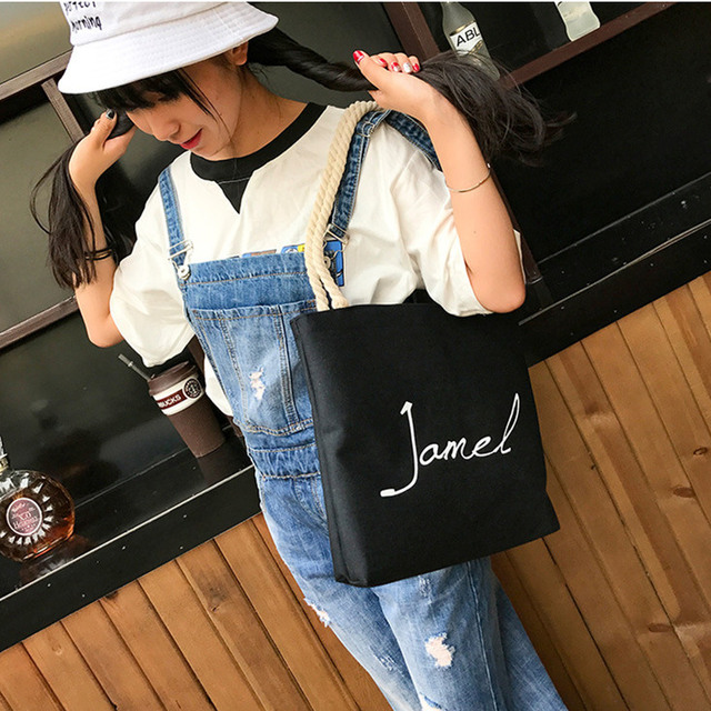606f1ff513 Canvas Environmental Protection Shopping Bag Fashion Women's Handbags Tote  Bag Casual Shoulder Bags cute lovely girls handbag
