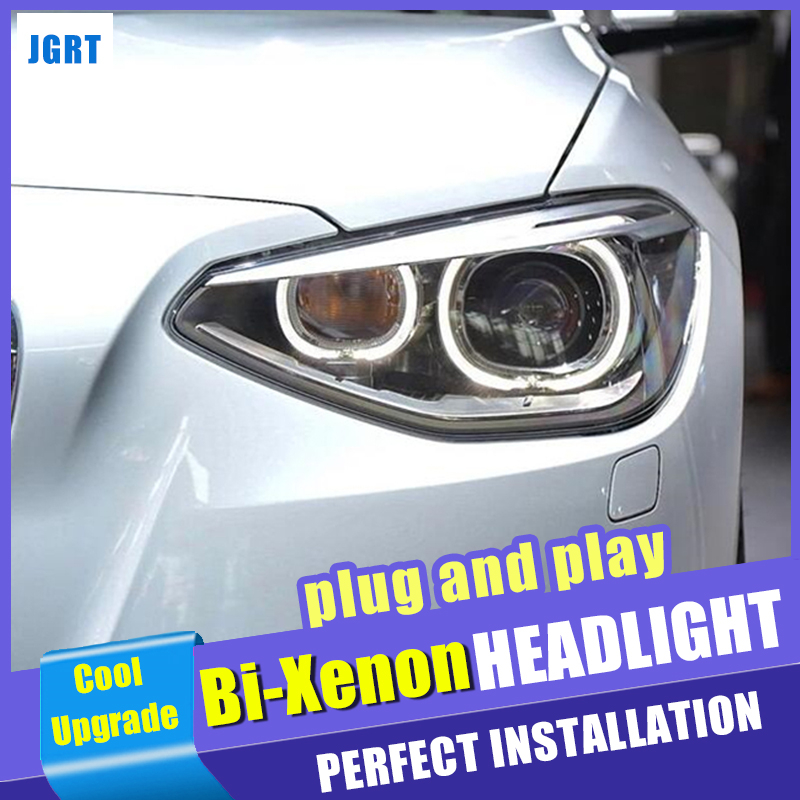 Head lights car styling For BMW 1 Series F20 Headlights 2012-2015 Double Beam Lens Projector Xenon Lamps led drl image