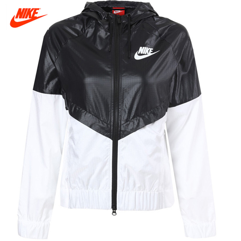 Nike Women's Coat Summer Sports Windbreaker Hooded Jacket Windrunner Fast Dry 804948-010 authentic nike men s coat spring new windproof jacket windrunner training