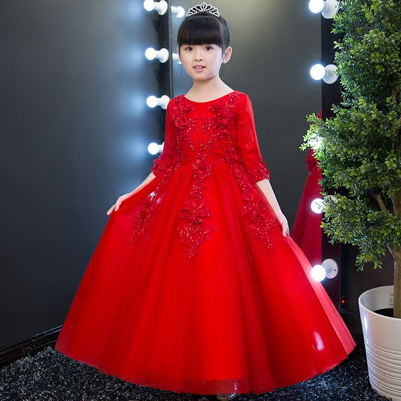 2019Korean Style Girl Party Ball Gown Dresses Kids Children Royal Elegant Red Color Embroidery Lace Dresses for Mariage Birthday2019Korean Style Girl Party Ball Gown Dresses Kids Children Royal Elegant Red Color Embroidery Lace Dresses for Mariage Birthday