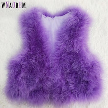 Real natural ostrich wool vest, 100% turkey hair, color customizable real fur coat encryption fur vest(China)