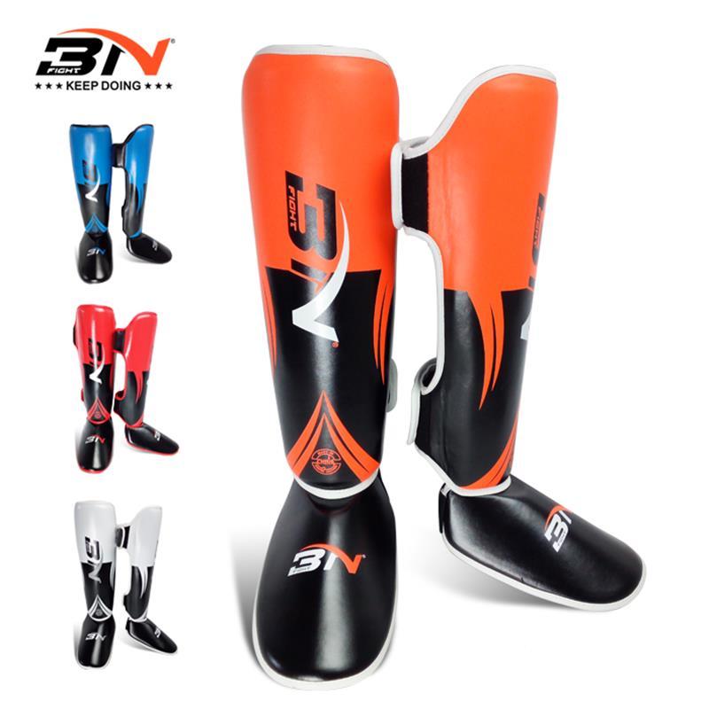 BN Shin Guard child PU leather kick boxing leg guards karate sanda taekwondo MMA leg protector sports fitness equipment