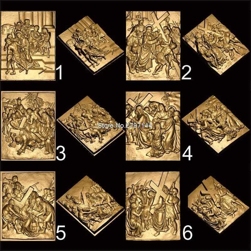14 Uds. De modelo 3D STL de la ruta del dolor de Cristo, máquina cnc para tallado, modelo de crucifijo para enrutador cnc, grabador ArtCam