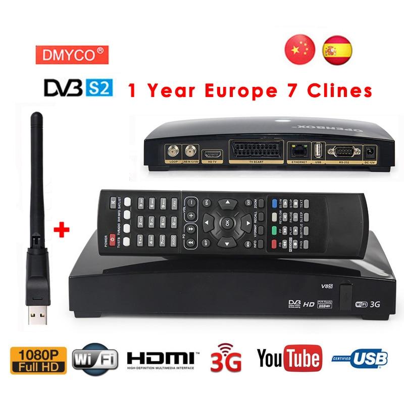 Cccam cline per 1 anno spagna V8S decodificador satelital DVB-S2 recettore satellite + USB WIFI di sostegno youtube bisskey Newcam MPEG-5
