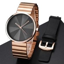 Творческий Для мужчин s часы с кожаный ремешок розового золота Сталь Роскошные Кварцевые наручные часы Для мужчин часы моды мужской подарочный набор Relogio masculino