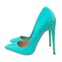 Brand women's shoes blue high heels 12 CM ladies high heels wedding pointed shallow mouth sexy banquet shoes